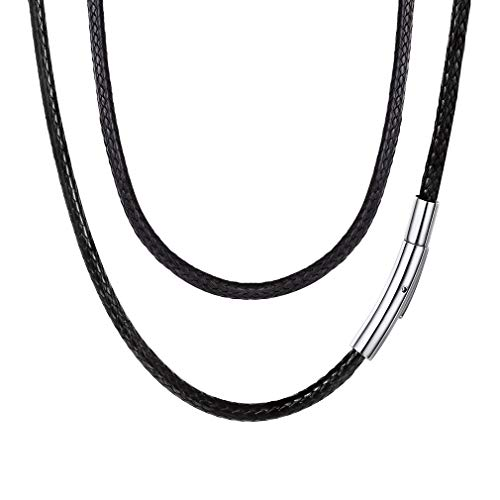 FaithHeart Braided Leather Cord Necklace with Stainless Steel Durable Snap Clasp, 3mm Men Women DIY Woven Wax Rope Chain for Pendant, 20 Inches