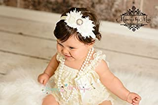2pcs Baby Girl Vintage Ivory Petti Lace Romper Set w Extra Headband, Baby Girl Ivory Romper, Baby Baptism Outfit