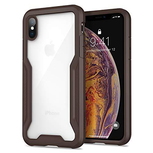 HOOMIL Cover per iPhone XS, Cover per iPhone X, Custodia Protettiva Antiurto per Apple iPhone XS/X Smartphone (5.8 Pollici) - Trasparente Marrone Scuro
