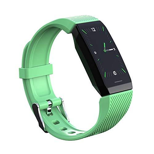 szsxcnm 1.14 - Pulsera inteligente con pantalla meteorológica, presión arterial, frecuencia cardíaca, monitor de actividad física, reloj inteligente, impermeable, para hombres, mujeres y niños (verde)