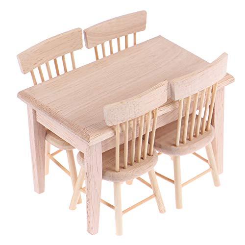 1Set Esstisch Stuhl Modell 1:12 Puppenhaus Miniatur Holzmöbel Spielzeug Set Hohe Qualität