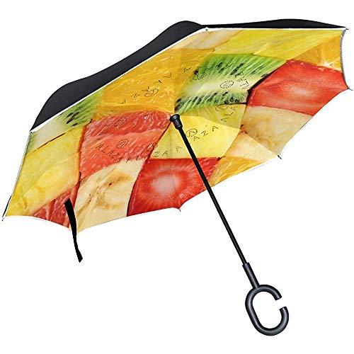 Mike-Shop Ombrello invertito Ombrello inverso Ombrello da Esterno Delizioso da Frutta affettato Antivento Resistente ai Raggi UV
