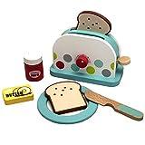 TikTakToo Kaufladen Spieleküche Toaster Set aus Toaster Teller Messer Brotscheiben Butter