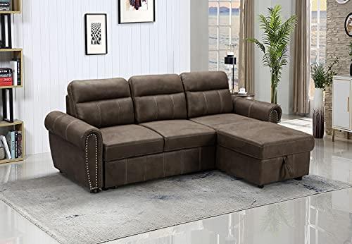 Lilola Home Kipling Microfiber Reversible Sleeper Sectional Sofa...