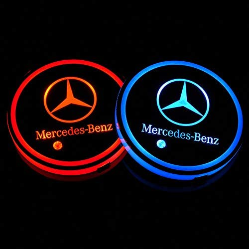 Autosport 2PCS LED Cup Holder Mat Pad Coaster with USB Rechargeable Interior Decoration Light for BMW Accessory