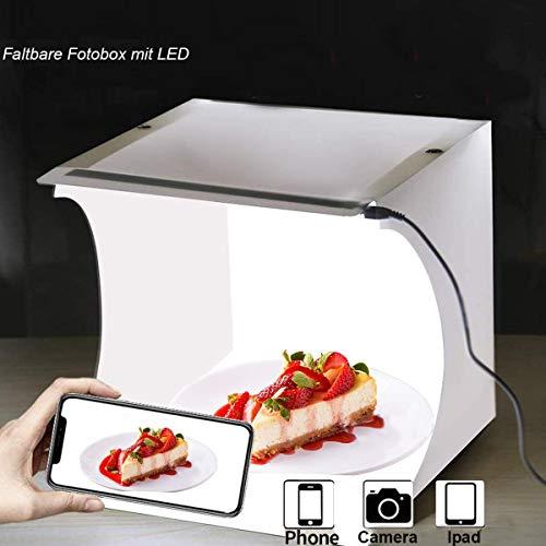 Mini fotostudio, Fotolichtbox Tragbares Faltbare Lichtzelt Schießzelt mit Beleuchtung(6000K Weiße LED Streifen) und 2 Farben Backdrops, Fotobox Fotografie Lichtbox Softbox Kit 23x 24x 25cm