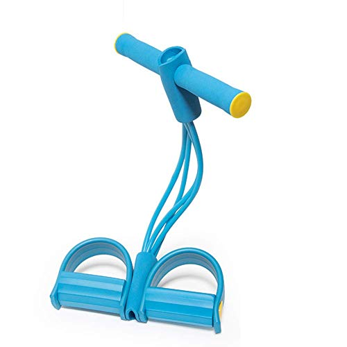 Jardire Resistenza Multifunzionale Espansore Pedale 4 Tubi Elastica Corda, Fasce da Tirare Espansore Corpo Libero, Esercitatore Elastico Fitness Gambe e Glutei Linea Act Pancia Piatta (Blu)