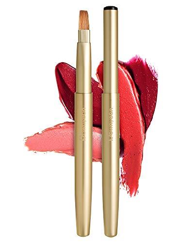 Rownyeon Retractable Lip Brush Applicators Flat for Lipstick Gloss Creams Portable with Cap Travel,...
