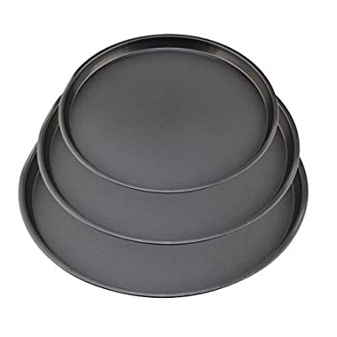 Fcoson No-Stick Bakeware Sheet Set 3 Pack Round Baking Pan Cookie Plate