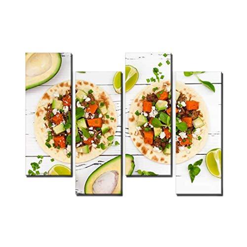 Wocatton Mexican Tacos with Meat, Sweet Potatoes and cotija Cheese Mexican Wall Art Background Decor Pictures Print On Canvas Art Stretched and Framed Perfect Home Decoration