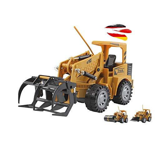 Himoto HSP Vehículos teledirigidos para obras, cargador de ruedas, mango de madera, rodillo, pala de nieve, juego completo que incluye mando a distancia, batería y cable de carga
