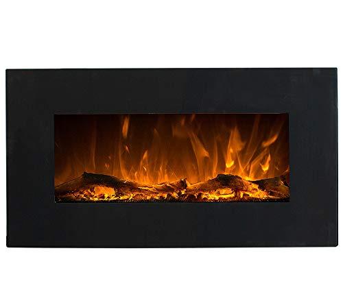 GLOW FIRE Neptun Elektrokamin mit Heizung, Wandkamin mit LED | Künstliches Feuer mit zuschaltbarem Heizlüfter: 750/1500 W | Fernbedienung, 84 cm, Schwarz, Holzdekaration