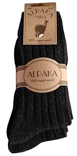 dunaro 2 Paar Alpaka Socken Wollsocken besonders kuschelig warm für Damen Herren (2 Paar / 43-46 Anthrazit)