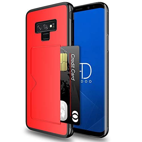 Radoo Compatible Galaxy Note 9, Ultra Mince Cuir PU Premium et Flexible TPU Hybride Porte-Carte Crédit Porte-Monnaie Arrière Portefeuille Souple Housse étui pour Samsung Galaxy Note 9 (Rouge)