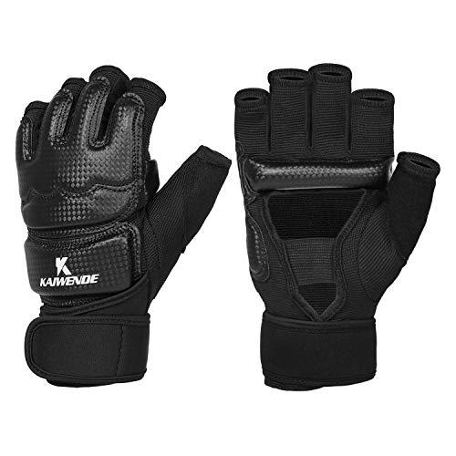 Half Finger Kickboxing Gloves - Also Fit For Taekwondo Sparring,Training Light Workouts, Muay Thai , Martial Arts(Karav Maga),Karate,Shadow Boxing,Cardio Kickboxing Class,Combat Class(Black, M)