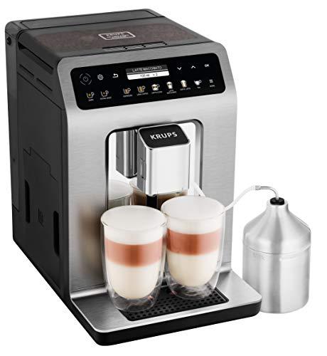 Krups EA894T Kaffevollautomat Evidence Plus | XL OLED-Farbdisplay | Barista Quattro Force Technologie | 16 Kaffee-Variationen | 3 Tee-Variationen | One-Touch-Cappuccino Funktion | Titanium-Metallic