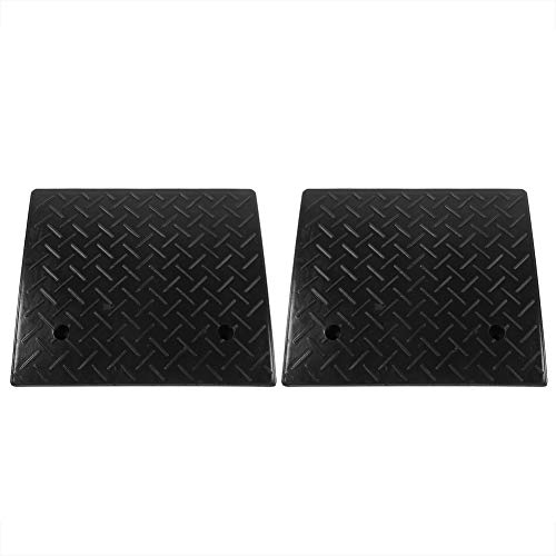 Heavy Duty Rubber Threshold Ramps, 2 Pcs 4inch Rise Rubber Threshold Bridge Tracks Curb Ramps for Car Bike Motorcycle Wheelchair Loading Dock, 19.17x16.73x4.17 Inch
