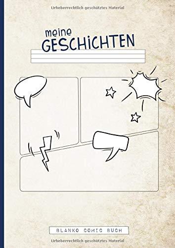 meine Geschichten | Blanko Comic Buch: Schreib-Lern-Heft zum Zeichnen und Schreiben von Comics für Grundschul-Kinder mit Kontrast-Lineatur