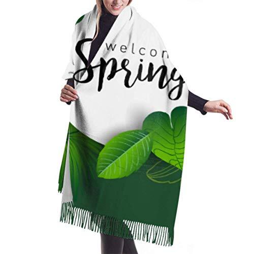 27'x77' Bufanda Diseño de mujer Diseño de letras Banner Bienvenido Primavera Bufanda de cachemira ligera Abrigo de chal para mujer Elegante grande