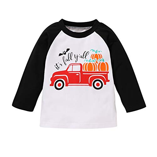 Sibling Shirts for Kids Newborn Boys Girls Halloween Matching T-shirt bodysuit Pumpkin Truck Fall Clothes (Black # T-shirt, 18-24 Months)