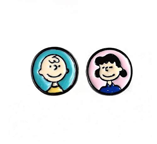 pretty.lovable.mishmash Charlie Brown y Lucy Van Pelt Pendientes Peanuts, Snoopy Dog Pendientes Esmalte