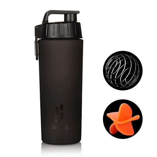 Protein Shaker Bottles CouHaP Leak Proof BPA Gratis Fitness Sport Klassieke Protein Mixer Shaker Fles met 2 Blender Mixing Ball (28 oz)