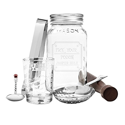 Cathy's Concepts Pick Your Poison Mason Jar Mixology Set, Clear