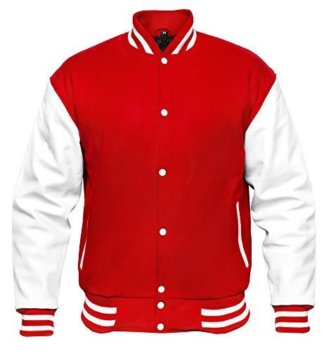VINTAGE BASICS College Jacke - Unisex Baseball Jacke - Oldschool Varsity Jacke aus Wolle für Herren und Damen Rot S