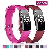 Vobafe 2 Pezzi Compatibile con Fitbit Inspire Cinturini/Fitbit Inspire HR Cinturino, Cinturini di Ricambio in Silicone Sport Compatibile con Fitbit Inspire/Inspire HR/Ace 2, S Vino Rosso/Rosa Rossa