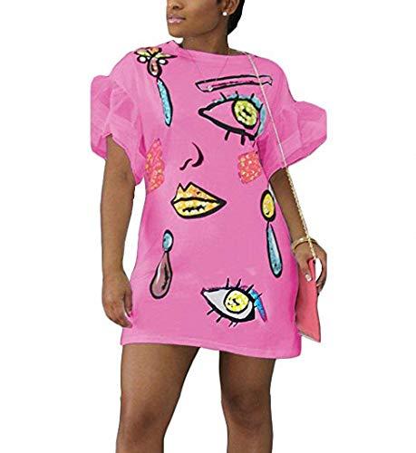 Remelon Womens Casual Short Puff Sleeve Eyes Lip Print Loose Tunic T-Shirt Mini Dress Pink XL