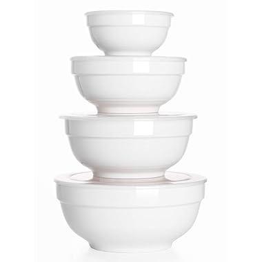 DOWAN Porcelain Serving Bowls, 12/22/42/64 Ounce Salad Bowls with Lid, Set of 4