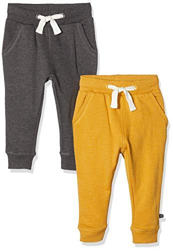 MINYMO 2er Pack Sweat Pants/Freizeithose für Jungen Pantalones Deportivos, Multicolor (Narcissus/Sand 385), 86 cm para Bebés