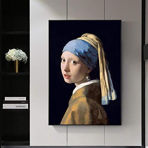Chica con un pendiente de perla Pinturas en lienzo en la pared Carteles e impresiones de arte clásico y famoso Cuadros de arte de la Edad de Oro holandesa - 60x80cm sin marco
