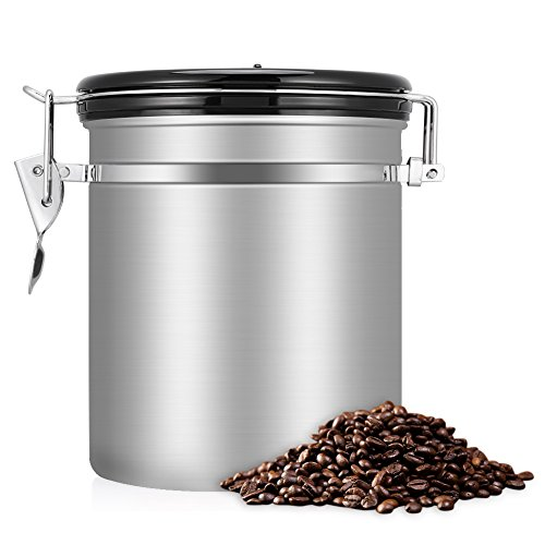 eecoo Barattolo caffè 1.5 L Barattolo Ermetico Coffee Vault Contenitore in Acciaio Inox, Valvola Unidirezionale Contenitore Sottovuoto, Contenitore per Conservare Il caffè e i Suoi Sapori Argento