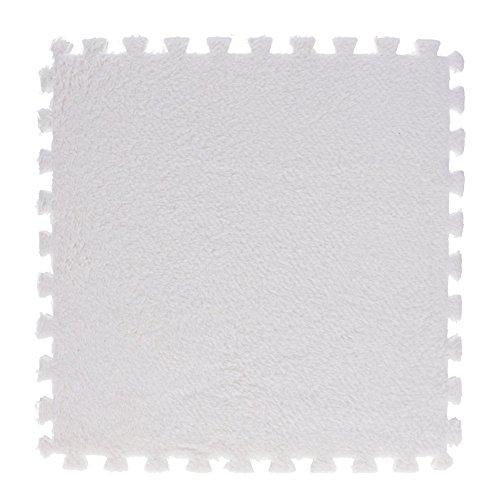 VANKER Tapis Puzzle 29 x 29 cm d'épaisseur mousse EVA de design Shaggy (1 pièce), plusieurs couleurs, tapis pour salon, chambre et lavabo, etc. - Blanc