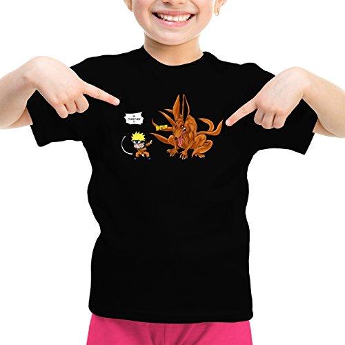 T-Shirt Enfant Fille Noir Naruto parodique Naruto et Kyubi Le démon Renard à 9 queues : Va Chercher ! (Parodie Naruto)