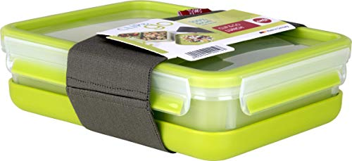 Emsa Lunch- und Snackbox mit 3 praktischen Einsätzen und Deckel, Inklusive separatem Teller und Fixierband, Volumen: 1,2 Liter, Transparent/Grün, Clip & Go, 518098
