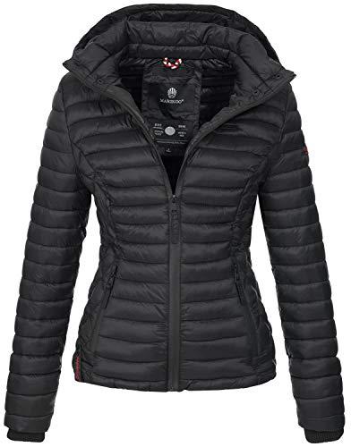 Marikoo Damen Jacke Steppjacke Übergangsjacke mit Kapuze gesteppt B600 [B600-Samt-Schwarz-Gr.L]