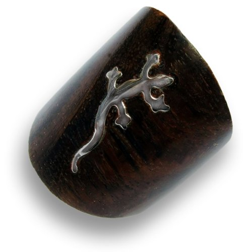 ISLAND PIERCINGS Gecko Design Ring aus Holz mit Edelstahl brauner Holzring Handarbeit AR095-19mm