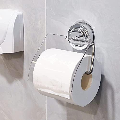 Saugnapf Toilettenpapierrollenhalter, Wasserdichter Kein Bohren Toilettenpapierhalter Edelstahl Rostfrei Abnehmbarer Rollenhalter Handtuchhalter für Küche Badzimmer