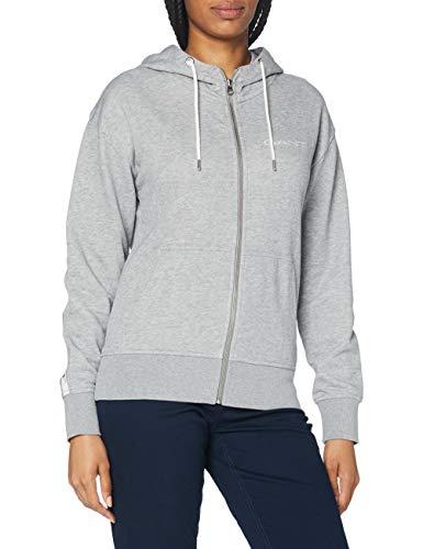 GANT Damen D1. 13 Stripes Full Zip Hoodie Kapuzenpullover, Grey Melange, XL