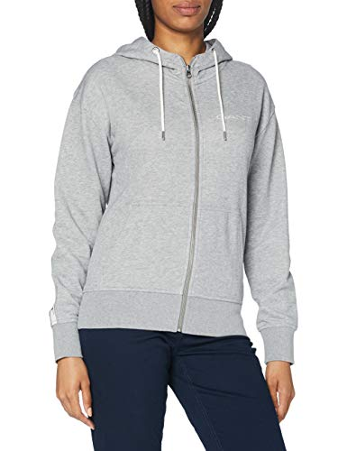 GANT Damen D1. 13 Stripes Full Zip Hoodie Kapuzenpullover, Grey Melange, XX-Large