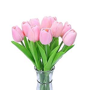 Silk Flower Arrangements DECORA 10pcs Real Touch Tulips Artificial Flowers for Wedding Home Centerpiece Decoration(Pink)
