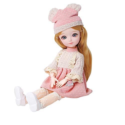 Muñeca de vestir reemplazable, movible con múltiples articulaciones, adecuada para juguetes de niñas, caja de regalo de casa de juegos para niños para decorar, maquillaje más delicado, ropa adorable