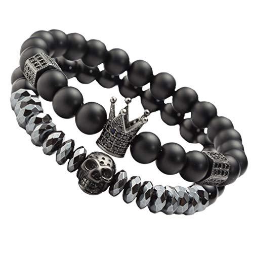 KESYOO Pulsera de perlas de circonio con diseño de calavera y corona con decoración para hombre, color negro, 2 unidades
