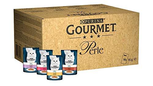 Purina Gourmet Perle Cibo Umido per Gatto Filettini con Trota, Tacchino, Anatra, Selvaggina, Confezione da 96 x 85 g