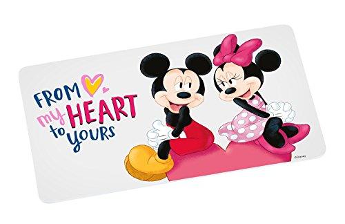 Disney Mickey Mouse Planche à petit-déjeuner Disney Mickey MY HEART, mélamine, blanc/multicolore, 23,5 x 14 x 0,5 cm.