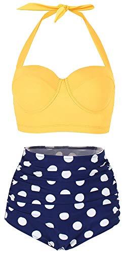 ChayChax Damen Hoher Taille Badeanzug 50er Retro Polka-Punkt Badeanzüge Bademode Zweiteiler Bikini Set Schwimmanzug, Gleb +Blau Punkt, Größe XL