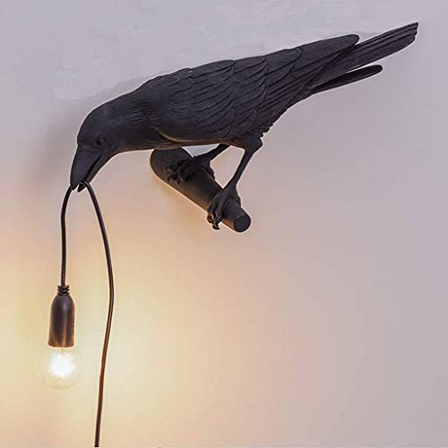 Birds Table Lamps Bedroom Resin Crows Desk Lamp Bedside Table Light Wall Light Style Raven Lamp Wall Light Black White Bird Resin Crow Home Decor