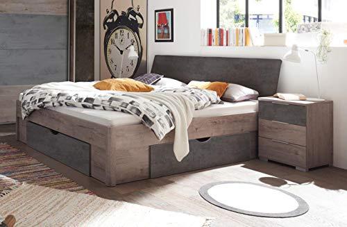 lifestyle4living Doppelbett in Eiche-Dekor und Beton-Optik 180x200 cm, Bett mit Schubladen und Nachtschränken.